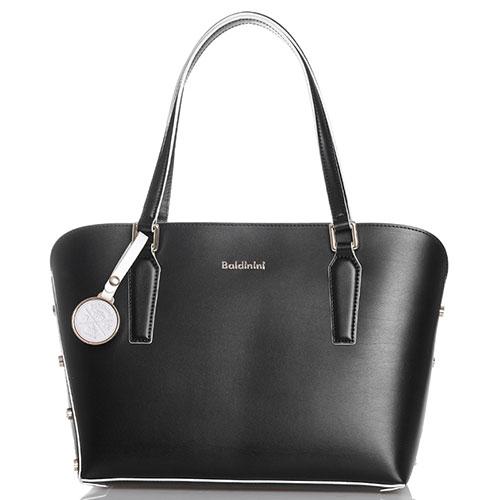 Черная сумка-шоппер Baldinini Alice с белой каймой, фото