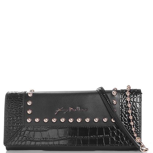 Клатч Baldinini Alma с декором-заклепками черного цвета, фото