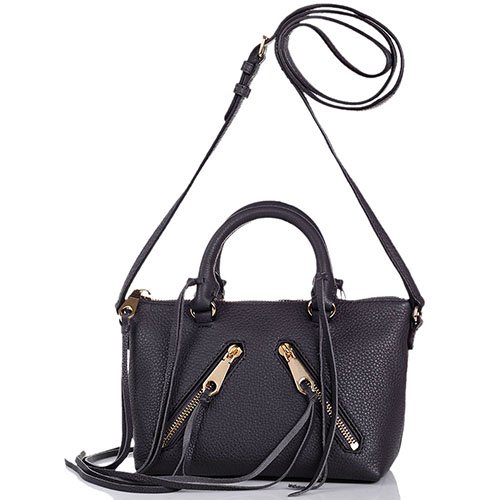 Маленькая сумочка Rebecca Minkoff черного цвета с наружными диагональными карманчиками и бахромой, фото