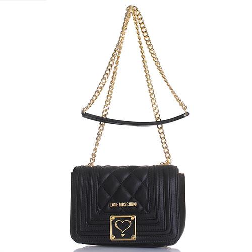 2322ec7e6ae9 черная стеганая сумка Love Moschino с декоративной строчкой Hkv