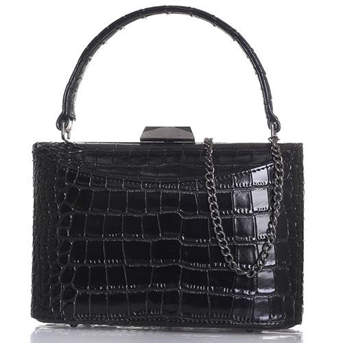 Прямоугольная черная сумка Olga Berg с тиснением Кроко, фото