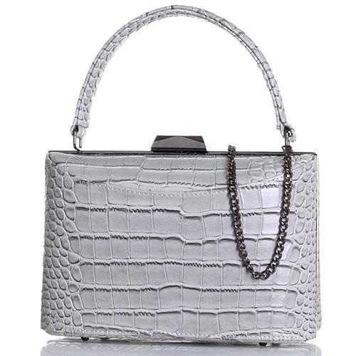 Прямоугольная серая сумка Olga Berg с тиснением Кроко, фото