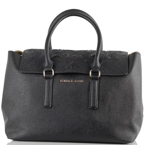 Черная сумка Versace Jeans из кожи сафьяно с декоративной вышивкой на клапане, фото