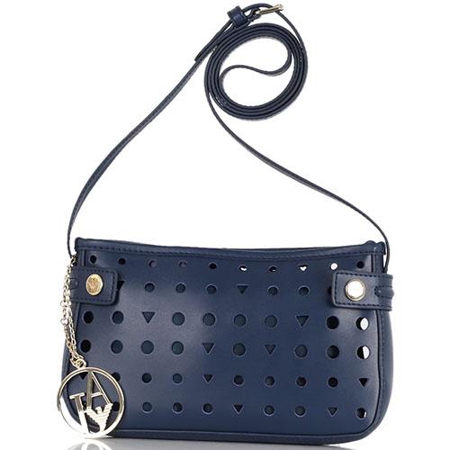 Перфорированная маленькая сумка Armani Jeans синего цвета, фото