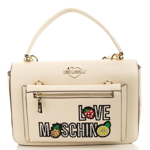 bc4ab32742ef ☆ Белая сумка Love Moschino с металлической шильдой купить в Киеве ...