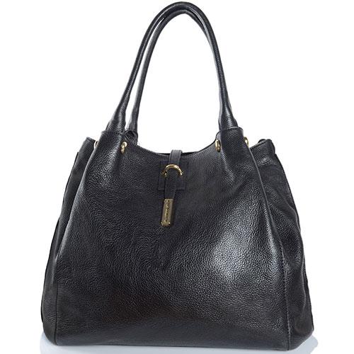 Черная сумка трапециевидной формы Di Gregorio из зернистой кожи, фото