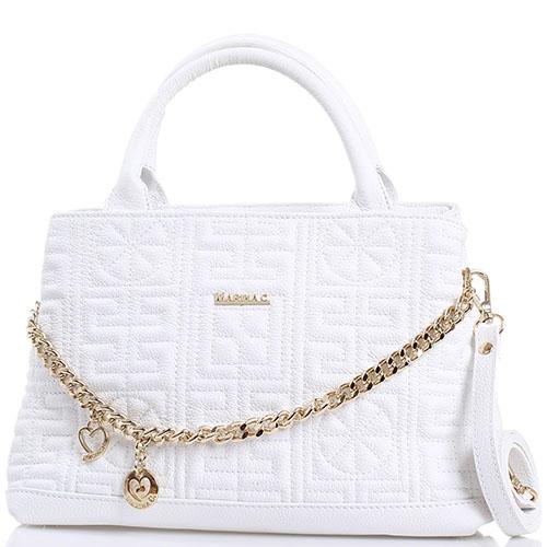 Стеганая белая сумка Marina Creazioni Декорированная цепочкой, фото