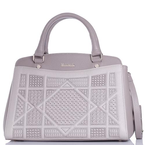 Светло-коричневая сумка Marina Creazioni с вышивкой, фото