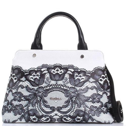 Белая сумка Marina Creazioni с принтом в виде черного кружева, фото