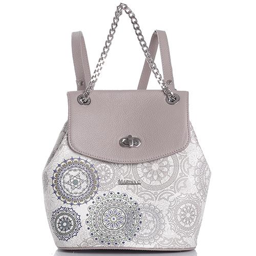 Светло-коричневый рюкзак Marina Creazion с принтом, фото
