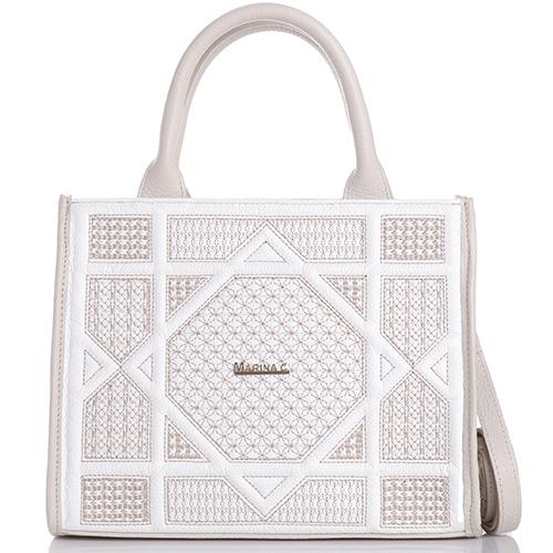 Бежевая сумка-тоут Marina Creazioni прямоугольной формы, фото