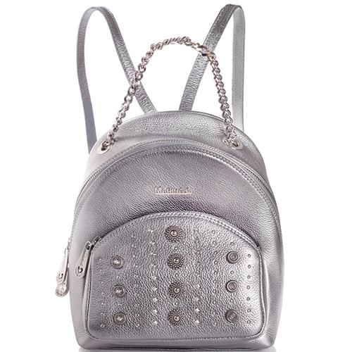 Серебристый рюкзак Marina Creazion с металлическим декором, фото