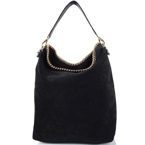 02c373e1a22b Черная замшевая сумка Gilda Tonelli декорированная цепочкой, фото