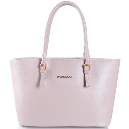 Кожаная сумка-шоппер Di Gregorio бежевого цвета, фото