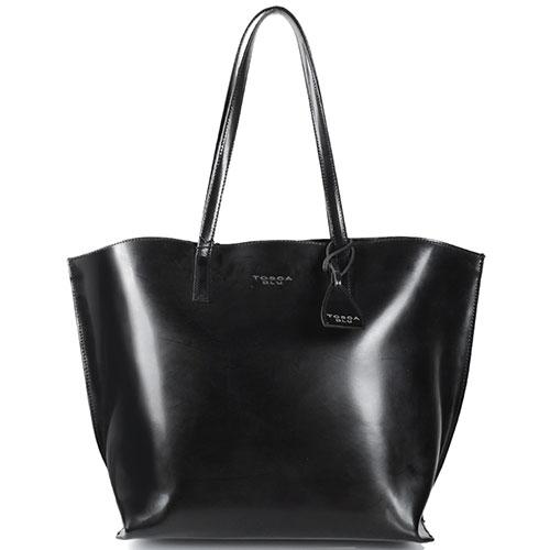 Черная сумка-шоппер Tosca Blu из полированной кожи, фото