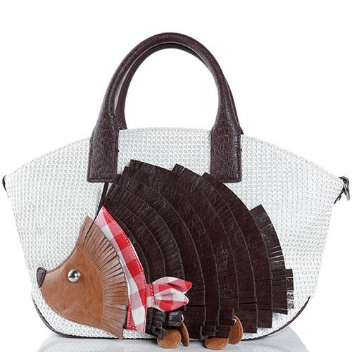 Белая сумка Braccialini Tuo с аппликацией в виде ежа, фото