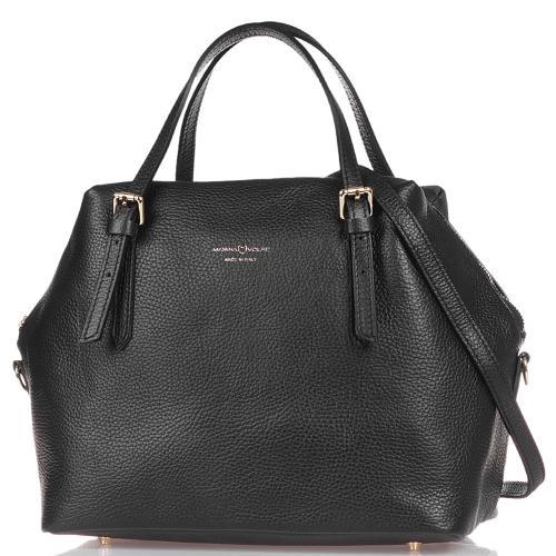 Черная сумка-тоут Marina Volpe из фактурной кожи, фото
