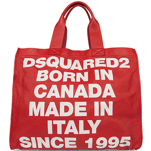 Красная сумка-шоппер Dsquared2 со съемной косметичкой, фото