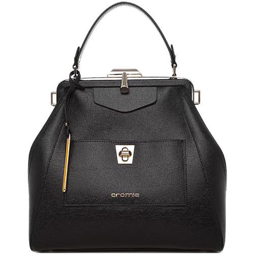 Черная кожаная сумка Cromia Mina на рамочном замке, фото