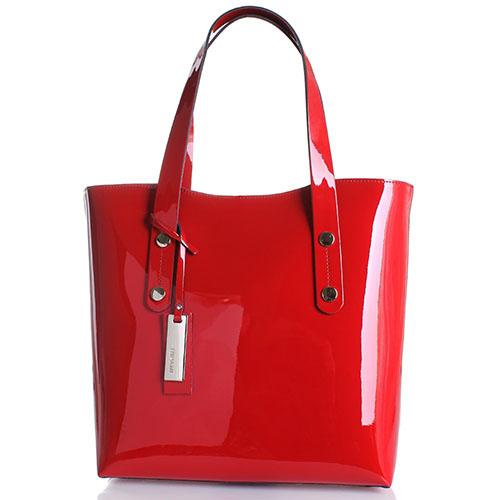 Лаковая сумка-шопер Ripani Positano красного цвета, фото