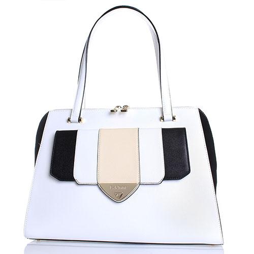 ea8fb397bdc0 Белая сумка Baldinini Goa из кожи Сафьяно с черными замшевыми элементами,  фото