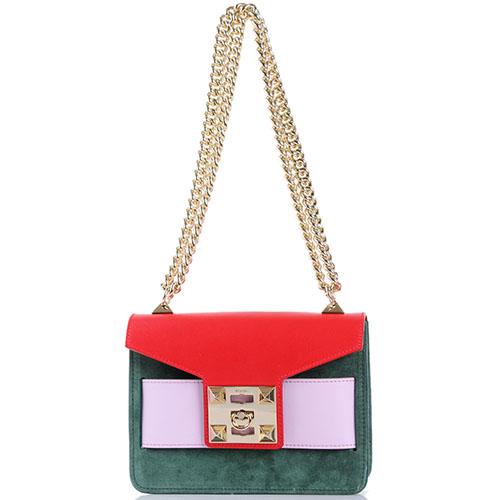 Трехцветная сумочка Salar из комбинации замши и кожи, фото