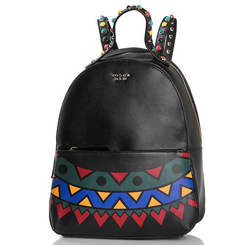 Черный рюкзак Tosca Blu Funny Winter с яркими заклепками и принтом, фото