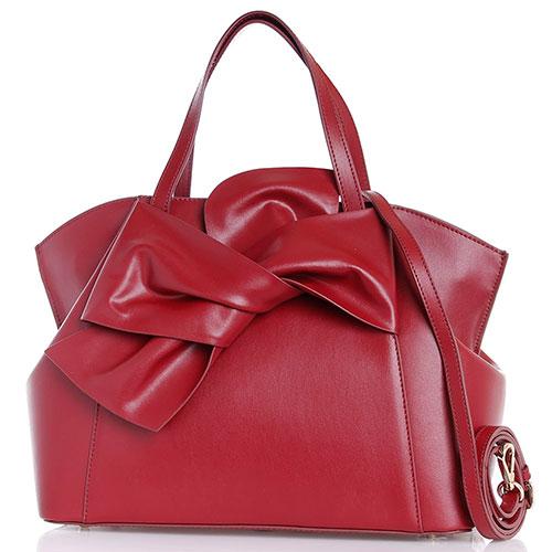 Бордовая сумка из гладкой кожи Tosca Blu Milady с бантом, фото