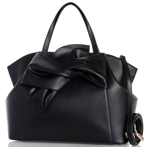 Черная сумка из гладкой кожи Tosca Blu Milady с бантом, фото
