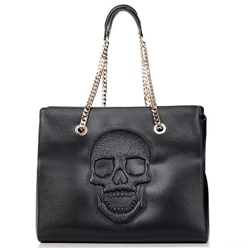 1e3de8ab7c20 Черная сумка Philipp Plein Betty с тиснением в форме черепа, фото