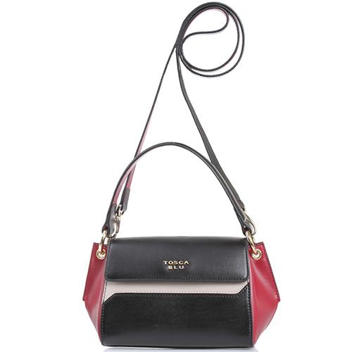 ☆ Маленькая кожаная сумка Tosca Blu черная с бордовым и бежевым tol ... 49e76a1a48b
