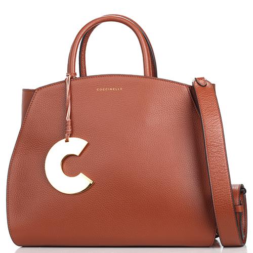 Коричневая сумка-тоут Coccinelle Concrete со съемным брелком, фото