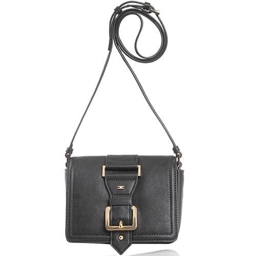 Маленькая сумка из черной кожи Elisabetta Franchi с декоративным ремешком, фото