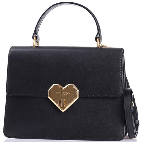 Черная сумка Tosca Blu с декором-сердцем, фото