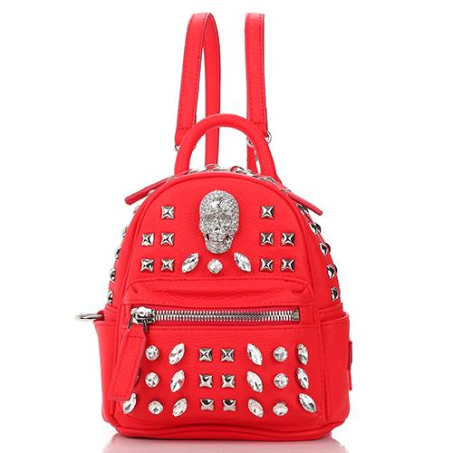 Красный рюкзак Philipp Plein Shiny skull с декором-черепом, фото