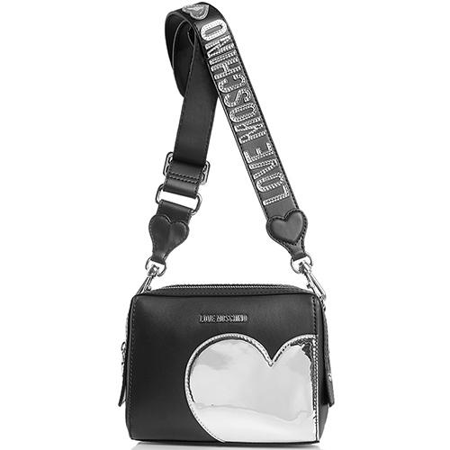 Маленькая черная сумка прямоугольной формы Love Moschino с аппликацией, фото