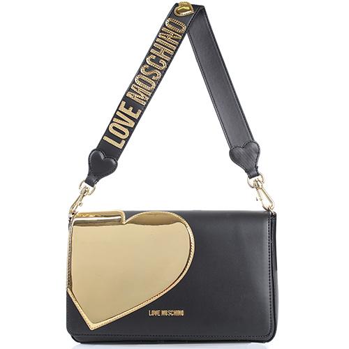 b464ed79b8d7 ☆ Черная матовая сумка флеп-бег Love Moschino с аппликацией tol-677 ...