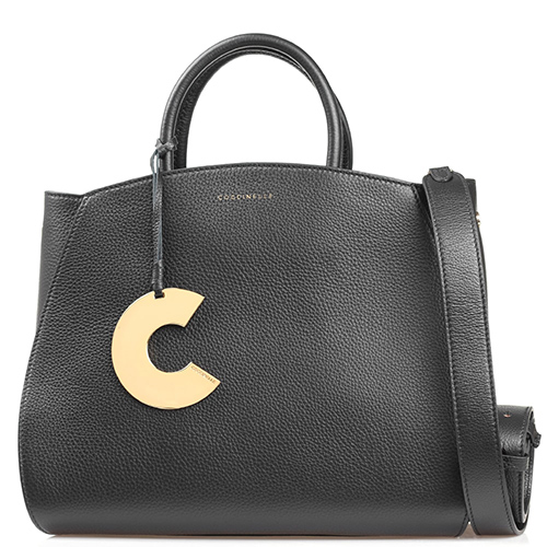 Черная сумка Coccinelle Concrete Maxi со съемным металлическим декором, фото