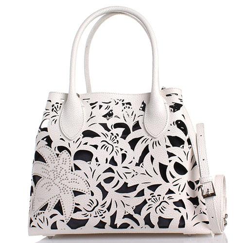 Белая сумка с перфорацией Tosca Blu Sophie из кожи, фото