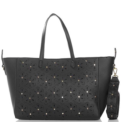 fec50d85f84e ☆ Черная сумка-шоппер Tosca Blu Monet со съемным ремнем купить в ...