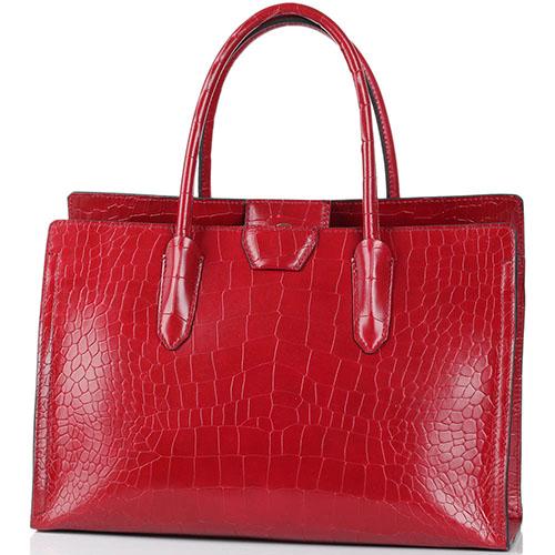 99d69f1ae8ec Кожаная сумка Gianni Chiarini красного цвета с лаковым блеском тисненая под  рептилию, фото
