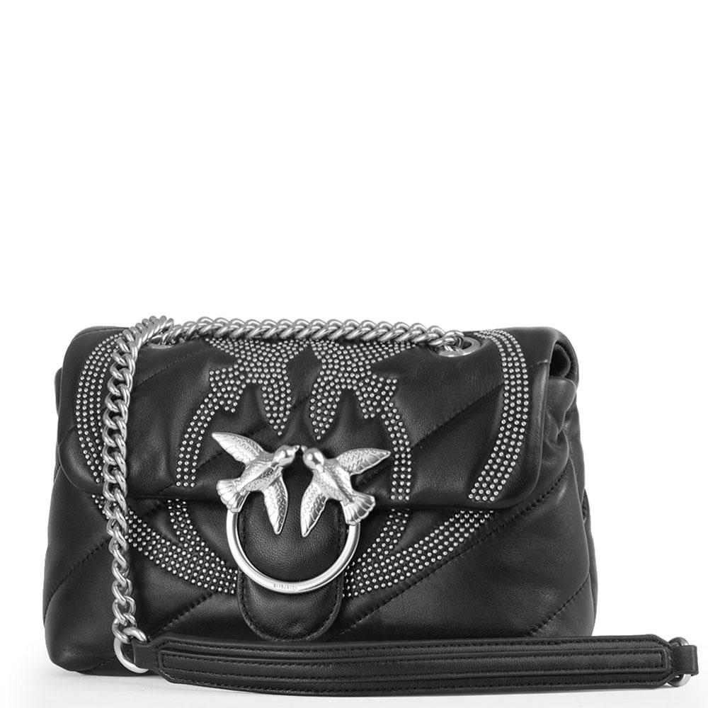 Черная сумка Pinko с металлическим декором на цепочке