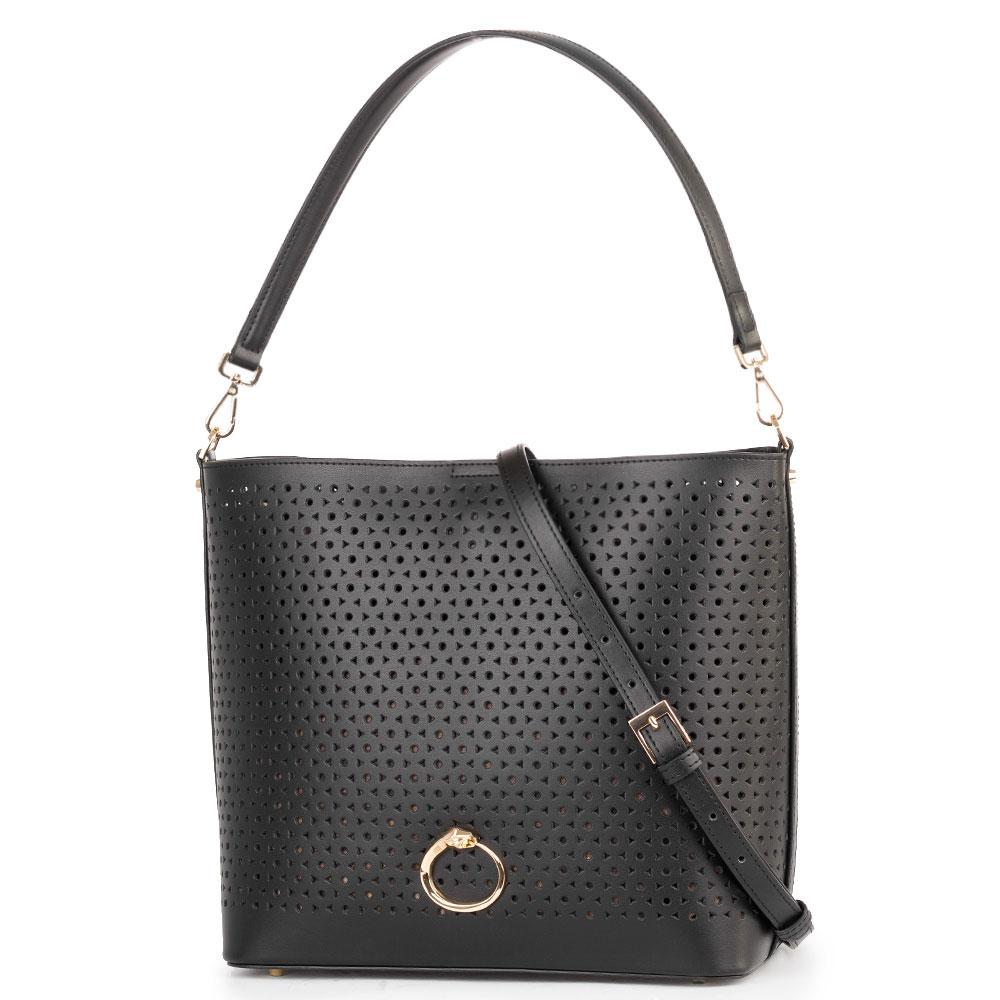 Женская сумка Cavalli Class Eva в черном цвете с перфорацией