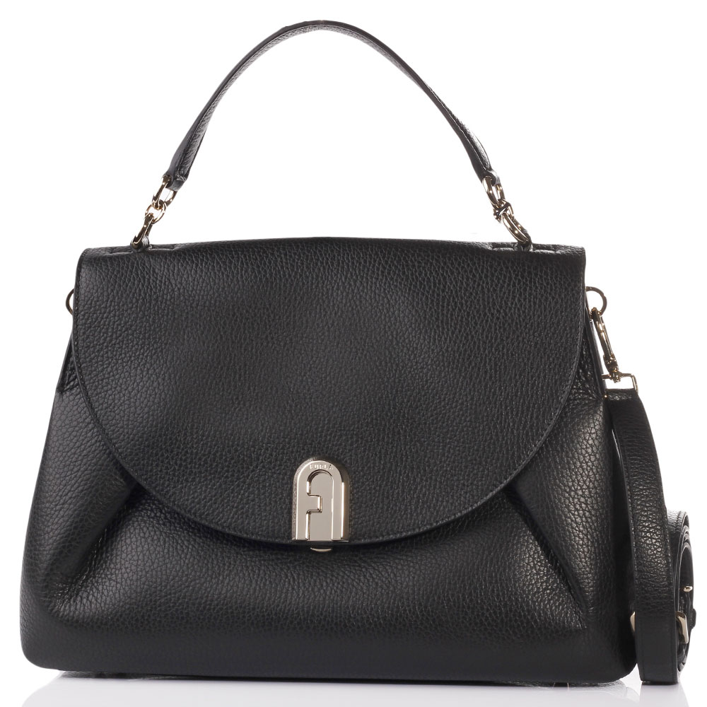 Сумка-портфель Furla из кожи черного цвета