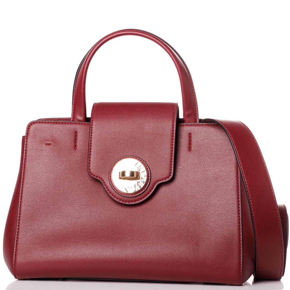 Бордовая сумка Emporio Armani на широком ремне