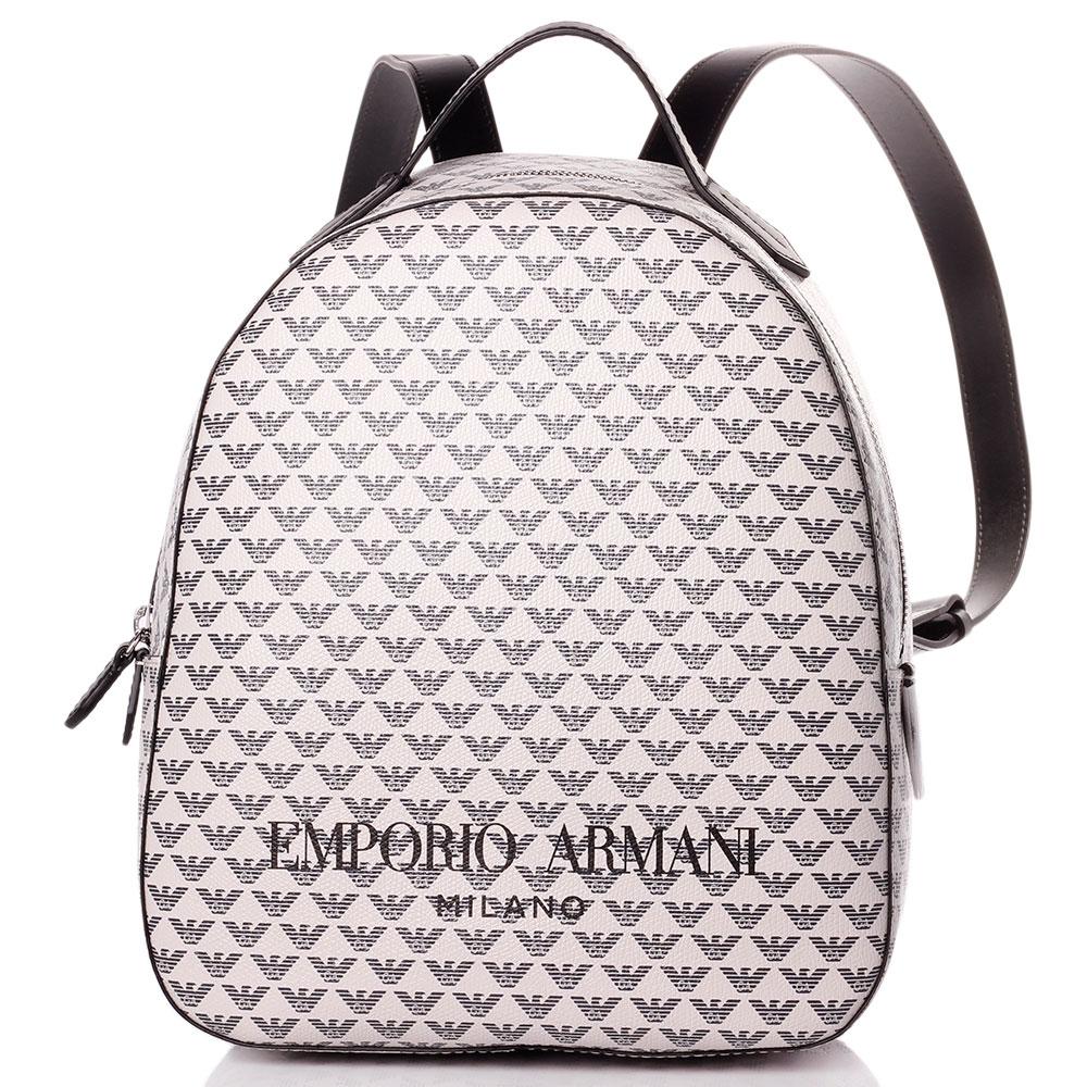 Рюкзак Emporio Armani белого цвета с принтом