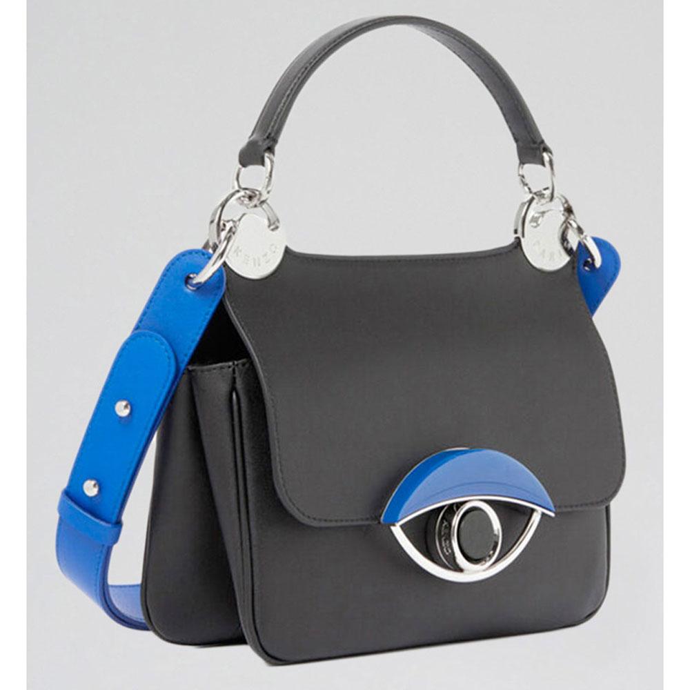 Черная сумка Kenzo с синими вставками