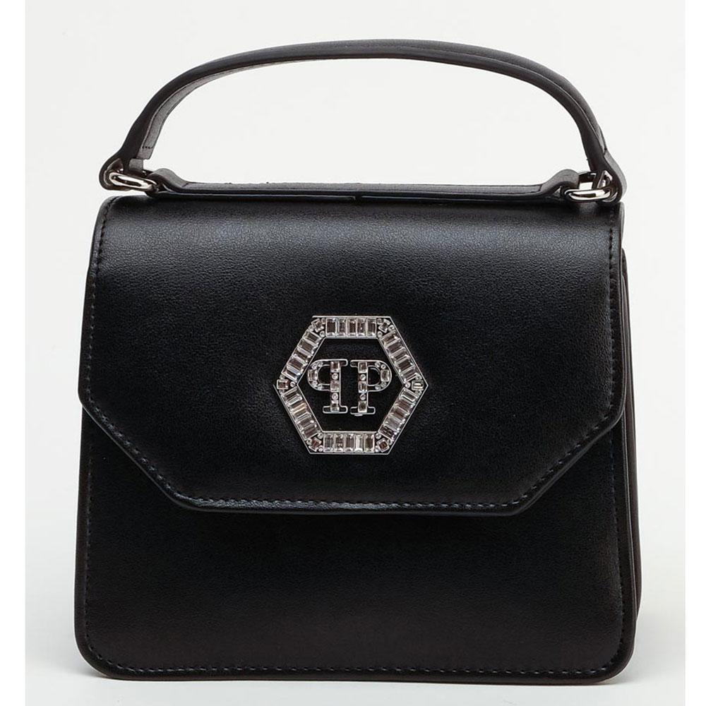 Черная сумка Philipp Plein с металлической нашивкой