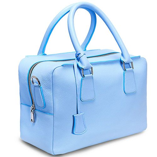Сумка-бочонок из зернистой кожи Fidelitti Chemire голубая, фото