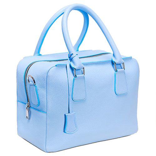 Голубая вместительная сумка Fidelitti Chemire из натуральной крупнозернистой кожи, фото
